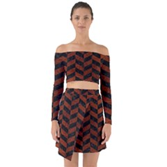 Chevron1 Black Marble & Reddish Brown Leather Off Shoulder Top With Skirt Set