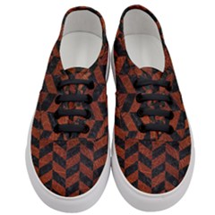 Chevron1 Black Marble & Reddish Brown Leather Women s Classic Low Top Sneakers