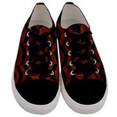 Chevron2 Black Marble & Reddish Brown Leather Men s Low Top Canvas Sneakers