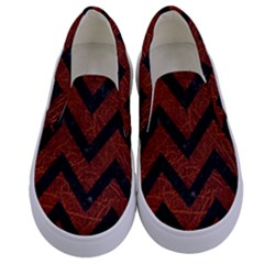 Chevron9 Black Marble & Reddish Brown Leather Kids  Canvas Slip Ons