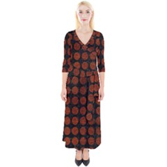 Circles1 Black Marble & Reddish Brown Leather (r) Quarter Sleeve Wrap Maxi Dress