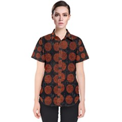 Circles1 Black Marble & Reddish Brown Leather (r) Women s Short Sleeve Shirt