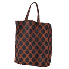 Circles2 Black Marble & Reddish Brown Leather Giant Grocery Zipper Tote