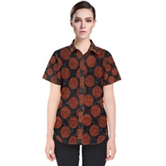 Circles2 Black Marble & Reddish Brown Leather (r) Women s Short Sleeve Shirt
