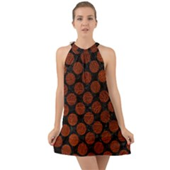 Circles2 Black Marble & Reddish Brown Leather (r) Halter Tie Back Chiffon Dress