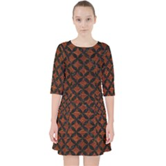 Circles3 Black Marble & Reddish Brown Leather Pocket Dress