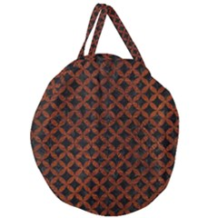 Circles3 Black Marble & Reddish Brown Leather (r) Giant Round Zipper Tote