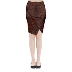 Damask2 Black Marble & Reddish Brown Leather Midi Wrap Pencil Skirt
