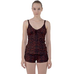 Damask2 Black Marble & Reddish Brown Leather Tie Front Two Piece Tankini