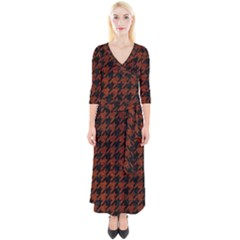 Houndstooth1 Black Marble & Reddish Brown Leather Quarter Sleeve Wrap Maxi Dress