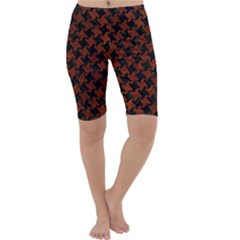 Houndstooth2 Black Marble & Reddish Brown Leather Cropped Leggings