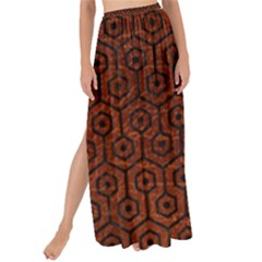 Hexagon1 Black Marble & Reddish Brown Leather Maxi Chiffon Tie Up Sarong