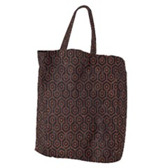 Hexagon1 Black Marble & Reddish Brown Leather (r) Giant Grocery Zipper Tote