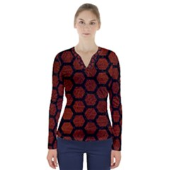Hexagon2 Black Marble & Reddish Brown Leather V Neck Long Sleeve Top