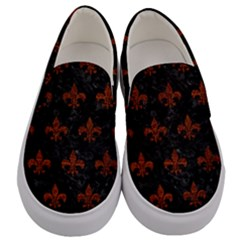 Royal1 Black Marble & Reddish Brown Leather Men s Canvas Slip Ons