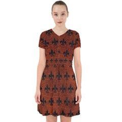 Royal1 Black Marble & Reddish Brown Leather (r) Adorable In Chiffon Dress