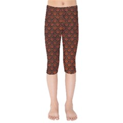 Scales2 Black Marble & Reddish Brown Leather Kids  Capri Leggings