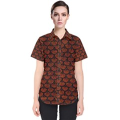 Scales3 Black Marble & Reddish Brown Leather Women s Short Sleeve Shirt