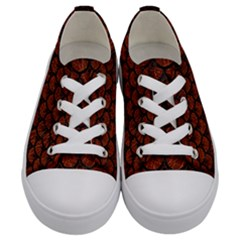 Scales3 Black Marble & Reddish Brown Leather Kids  Low Top Canvas Sneakers