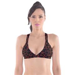 Skin1 Black Marble & Reddish Brown Leather Plunge Bikini Top