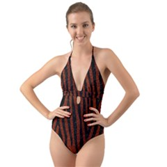 Skin4 Black Marble & Reddish Brown Leather (r) Halter Cut Out One Piece Swimsuit