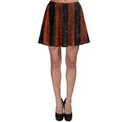 Stripes1 Black Marble & Reddish Brown Leather Skater Skirt