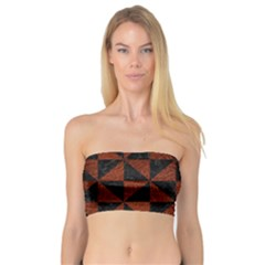 Triangle1 Black Marble & Reddish Brown Leather Bandeau Top