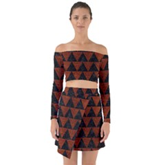 Triangle2 Black Marble & Reddish Brown Leather Off Shoulder Top With Skirt Set