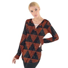 Triangle3 Black Marble & Reddish Brown Leather Tie Up Tee
