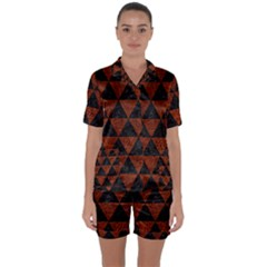 Triangle3 Black Marble & Reddish Brown Leather Satin Short Sleeve Pyjamas Set