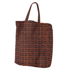 Woven1 Black Marble & Reddish Brown Leather Giant Grocery Zipper Tote