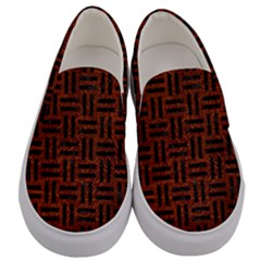 Woven1 Black Marble & Reddish Brown Leather Men s Canvas Slip Ons