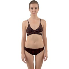 Woven1 Black Marble & Reddish Brown Leather (r) Wrap Around Bikini Set