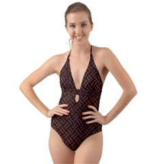 Woven2 Black Marble & Reddish Brown Leather (r) Halter Cut Out One Piece Swimsuit