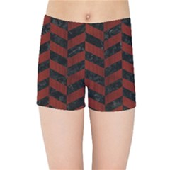 Chevron1 Black Marble & Reddish Brown Wood Kids Sports Shorts