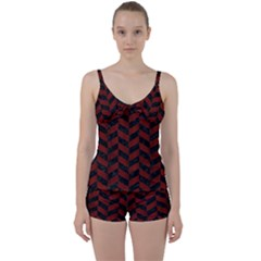 Chevron1 Black Marble & Reddish Brown Wood Tie Front Two Piece Tankini