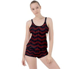 Chevron3 Black Marble & Reddish Brown Wood Boyleg Tankini Set