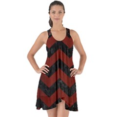 Chevron3 Black Marble & Reddish Brown Wood Show Some Back Chiffon Dress