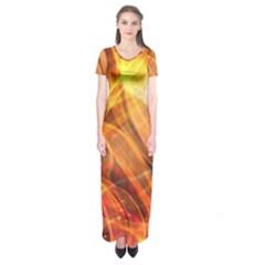 Abstract Shiny Night Lights 17 Short Sleeve Maxi Dress