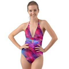 Abstract Shiny Night Lights 18 Halter Cut Out One Piece Swimsuit