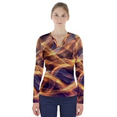 Abstract Shiny Night Lights 19 V Neck Long Sleeve Top