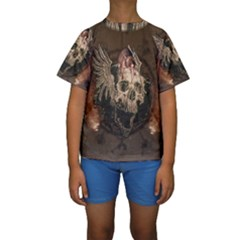 Awesome Creepy Skull With Rat And Wings Kids  Short Sleeve Swimwear