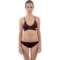 Damask2 Black Marble & Reddish Brown Wood Wrap Around Bikini Set