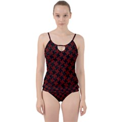 Houndstooth2 Black Marble & Reddish Brown Wood Cut Out Top Tankini Set