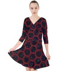 Hexagon2 Black Marble & Reddish Brown Wood (r) Quarter Sleeve Front Wrap Dress