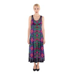 Flowers From Paradise Colors And Star Rain Sleeveless Maxi Dress
