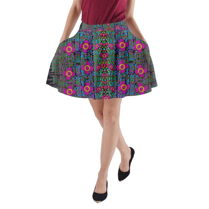 Flowers From Paradise Colors And Star Rain A-Line Pocket Skirt