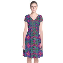 Flowers From Paradise Colors And Star Rain Short Sleeve Front Wrap Dress