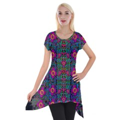 Flowers From Paradise Colors And Star Rain Short Sleeve Side Drop Tunic