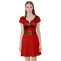 Link Red (navi) Short Sleeve Skater Dress